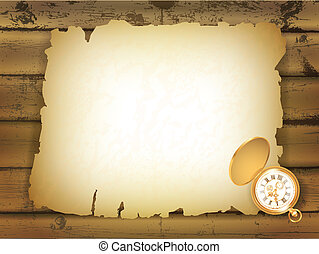 Old paper at wooden background - vintage pocket watch and...
