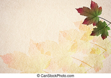 Old paper autumn leaves background