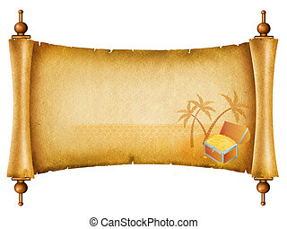 Old paper background. Antique scroll with chest on island.