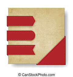 old paper background with red ribbons and corner