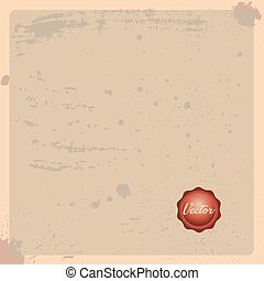 Old paper background with stamp. Antique paper page with Wax stamp seal and space for text