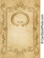 Old paper background with vintage frame.