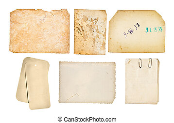 Old paper backgrounds set, isolated on white, high resolution