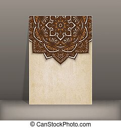 old paper card with brown floral circular pattern