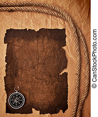 old paper, compass and rope