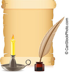 old paper conflagrant candle and feather with inks vector illustration