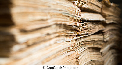 Old paper documents in the archive - Stack of the old paper...