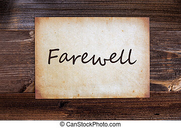 Old Paper, English Text Farewell, Wooden Background - Old ...
