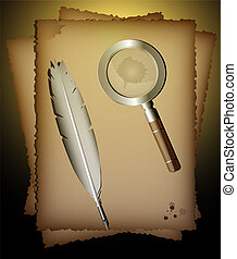 old paper, feather-pen and magnifer - on a dark background,...
