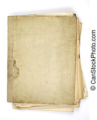 old paper - folder of very old note sheets isolated on white...