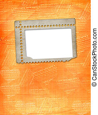old paper frame in scrapbooking style on abstract grunge background