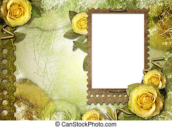 Old paper frame with a rose on the vintage background
