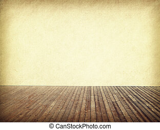 old paper in room interior with wood floor background
