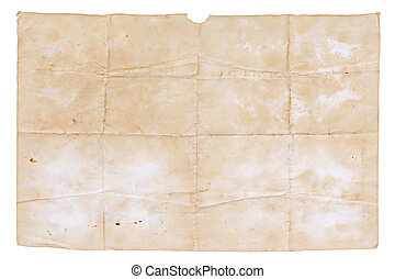 old paper isolated on white background , with clipping path