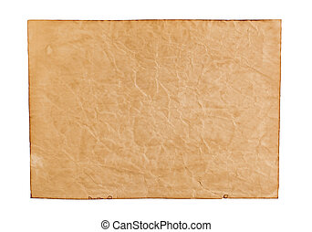 Old paper isolated on white background. Top view