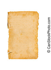 Old paper isolated on white background. Top view.