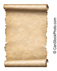 Old paper manusript scroll isolated on white vertically...