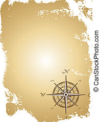 Old paper map with compass. Vector illustration - Blank old...