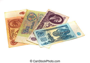 old paper money Russia since USSR isolated on white background