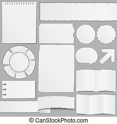 Old paper objects, vector eps10 illustration (transparent...