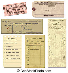 Old paper objects - vintage tickets, letters, notes - for...