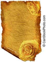 Old paper   - Old paper with roses