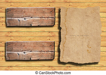 old paper on wood background.