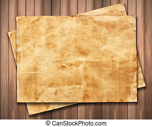old paper on wood background texture.