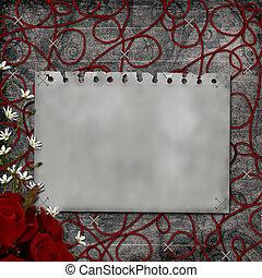 Old paper over Grunge Background
