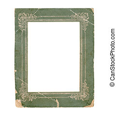 Old paper photo frame isolated on white