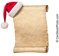 Old paper scroll and christmas hat isolated on white