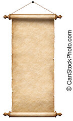 old paper scroll hanging on rope isolated