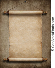 old paper scroll hanging on wall