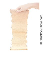 old paper scroll in the woman hand isolated on white