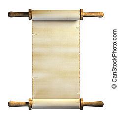 Old paper scroll on white background. Digital illustration,...