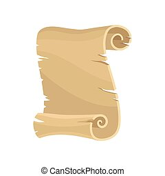 Old paper scroll, parchment, manuscript vector Illustration on a white background