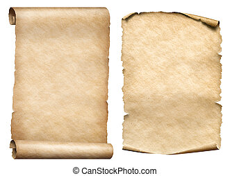 old paper scrolls 3d illustration set - two old paper...