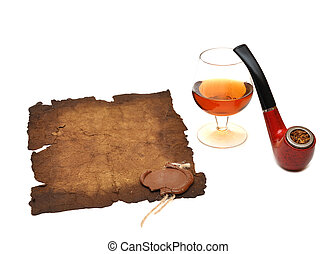 old paper seal wax , pipe and glass of cognac