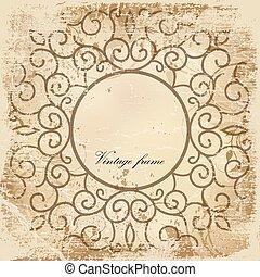 Old paper sheet with vintage frame.