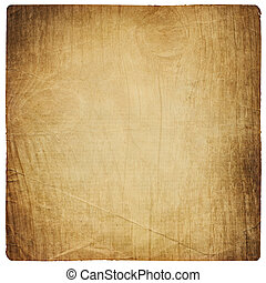 Old paper sheet with vintage wooden texture. Isolated on white.