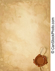 Old paper sheet with wax seal