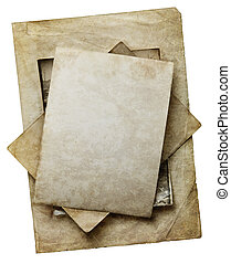 old paper sheets isolated on white backgroung