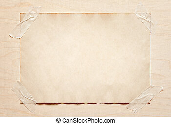 old paper sticked on wooden board