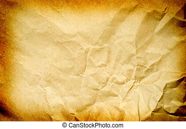 old paper - old brown crumpled paper. Texture background