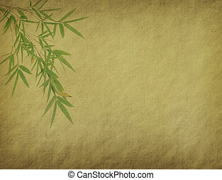 Old paper texture with bamboo.