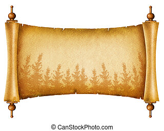 Old paper texture with forest silhouette.Scroll on white