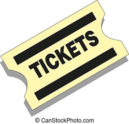 Old paper ticket vector icon on white background