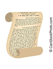 Vector ancient scroll wit text of declaration of independence USA