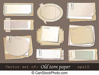 Vector set of old torn paper