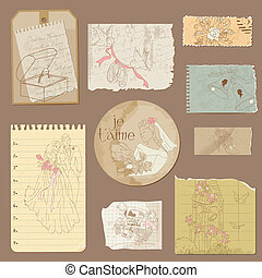 Old paper Wedding Vintage Design Elements in vector